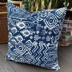 Overstuffed Outdoor Ikat Athena Throw Pillow 22x24